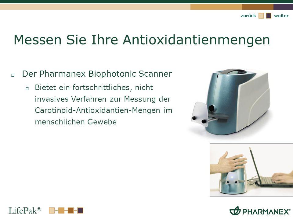 LifePak ® weiterzurück Messen Sie Ihre Antioxidantienmengen Der Pharmanex Biophotonic Scanner Bietet ein fortschrittliches, nicht invasives Verfahren
