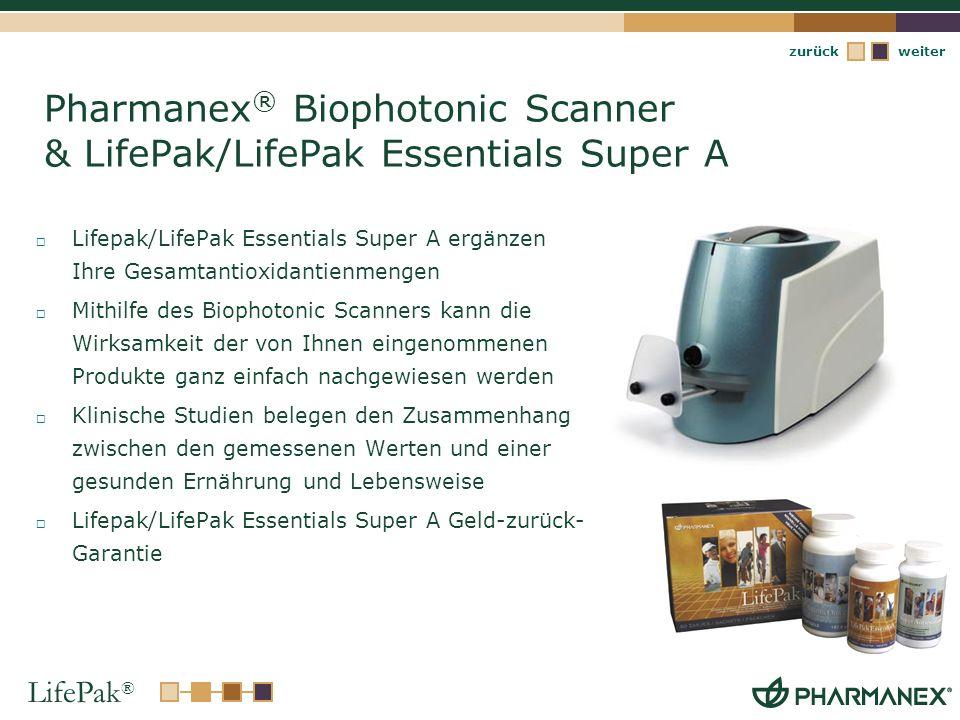 LifePak ® weiterzurück Pharmanex ® Biophotonic Scanner & LifePak/LifePak Essentials Super A Lifepak/LifePak Essentials Super A ergänzen Ihre Gesamtant