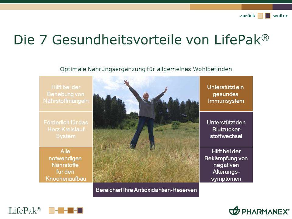 LifePak ® weiterzurück Die 7 Gesundheitsvorteile von LifePak ® Förderlich für das Herz-Kreislauf- System Unterstützt ein gesundes Immunsystem Hilft be