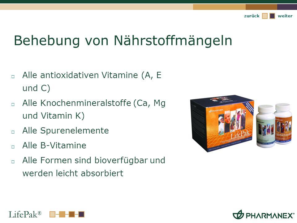 LifePak ® weiterzurück Behebung von Nährstoffmängeln Alle antioxidativen Vitamine (A, E und C) Alle Knochenmineralstoffe (Ca, Mg und Vitamin K) Alle S