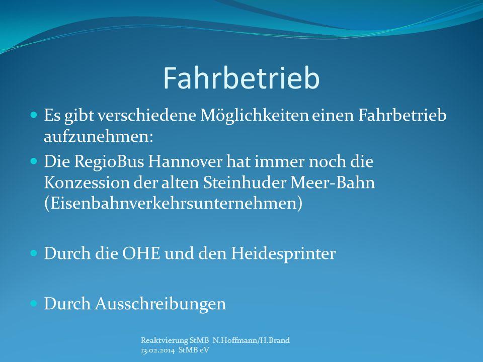 Fahrbetrieb Es gibt verschiedene Möglichkeiten einen Fahrbetrieb aufzunehmen: Die RegioBus Hannover hat immer noch die Konzession der alten Steinhuder