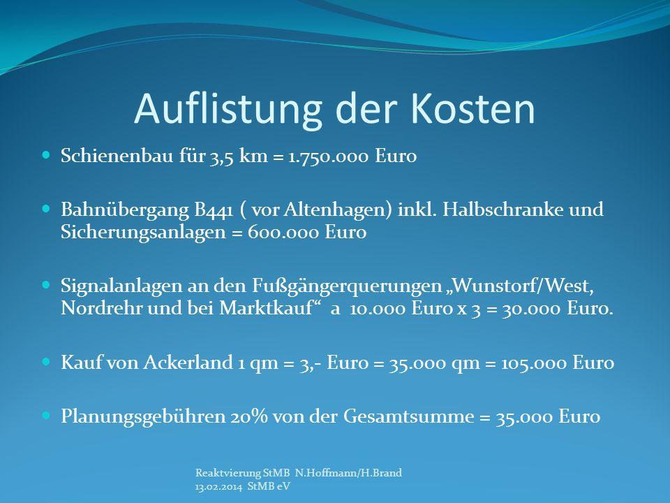 Auflistung der Kosten Schienenbau für 3,5 km = 1.750.000 Euro Bahnübergang B441 ( vor Altenhagen) inkl. Halbschranke und Sicherungsanlagen = 600.000 E