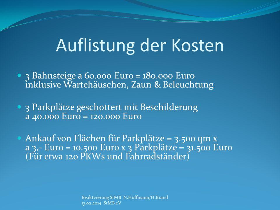 Auflistung der Kosten 3 Bahnsteige a 60.000 Euro = 180.000 Euro inklusive Wartehäuschen, Zaun & Beleuchtung 3 Parkplätze geschottert mit Beschilderung a 40.000 Euro = 120.000 Euro Ankauf von Flächen für Parkplätze = 3.500 qm x a 3,- Euro = 10.500 Euro x 3 Parkplätze = 31.500 Euro (Für etwa 120 PKWs und Fahrradständer) Reaktvierung StMB N.Hoffmann/H.Brand 13.02.2014 StMB eV