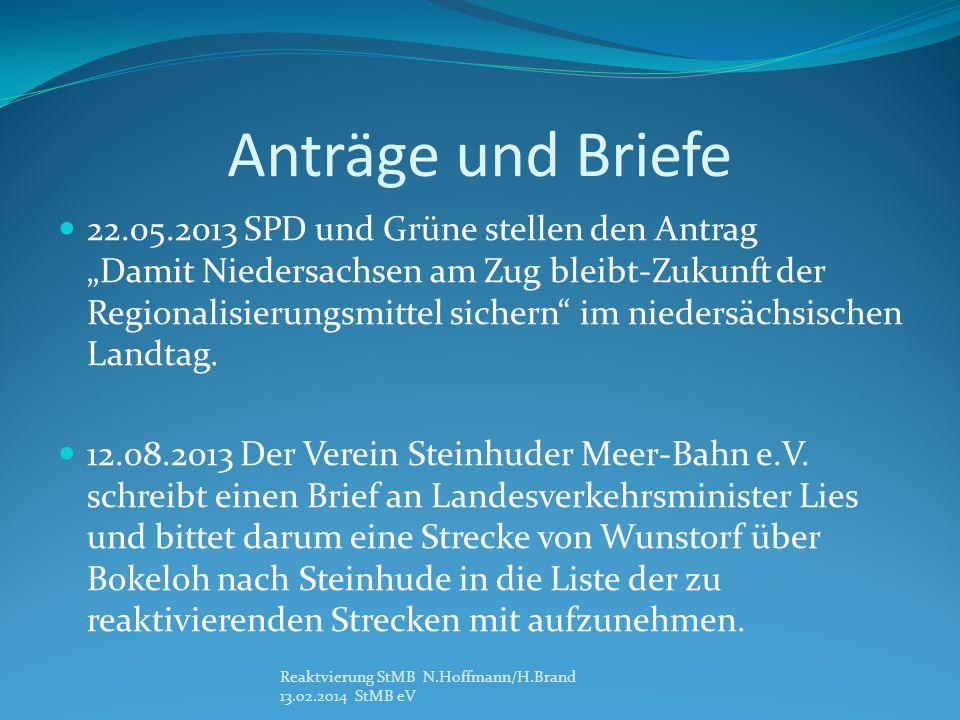 Anträge und Briefe 22.05.2013 SPD und Grüne stellen den Antrag Damit Niedersachsen am Zug bleibt-Zukunft der Regionalisierungsmittel sichern im niedersächsischen Landtag.