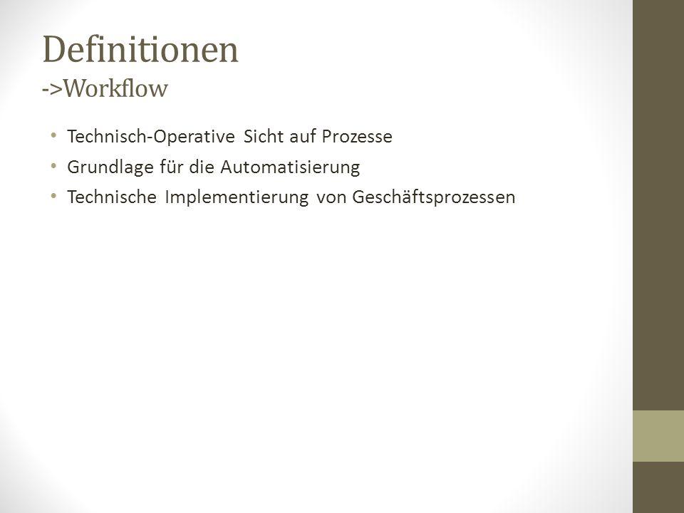 Definitionen ->Workflow Technisch-Operative Sicht auf Prozesse Grundlage für die Automatisierung Technische Implementierung von Geschäftsprozessen