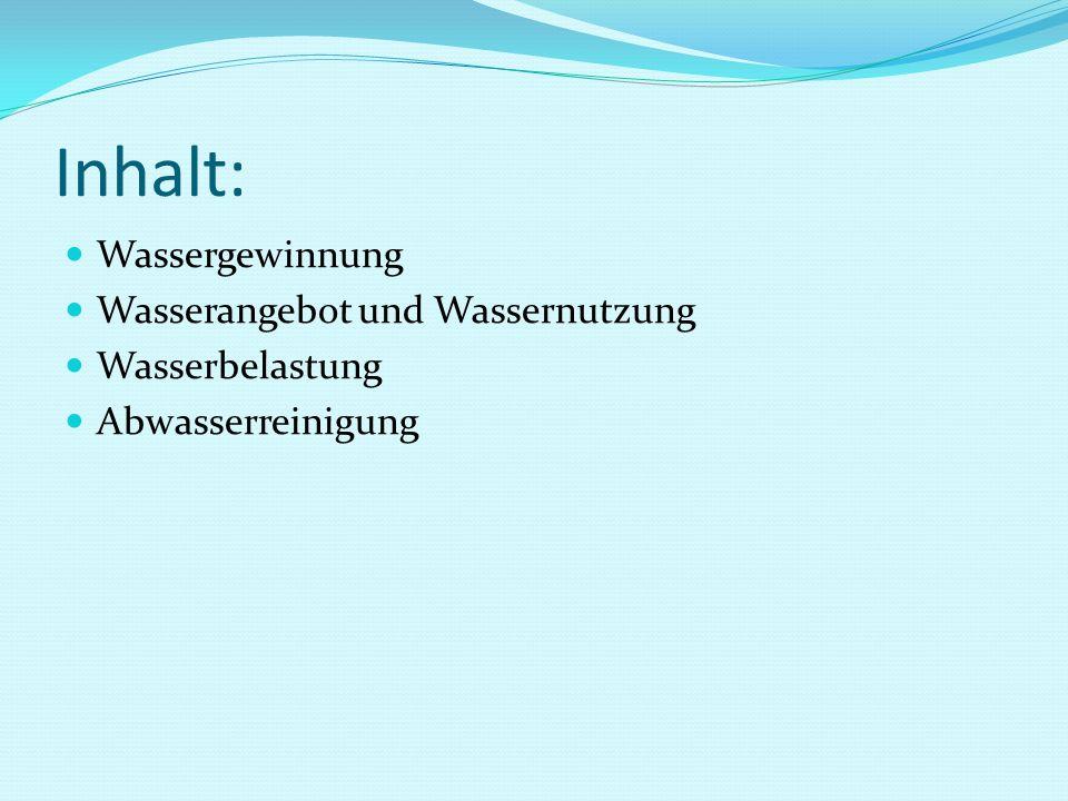 Inhalt: Wassergewinnung Wasserangebot und Wassernutzung Wasserbelastung Abwasserreinigung