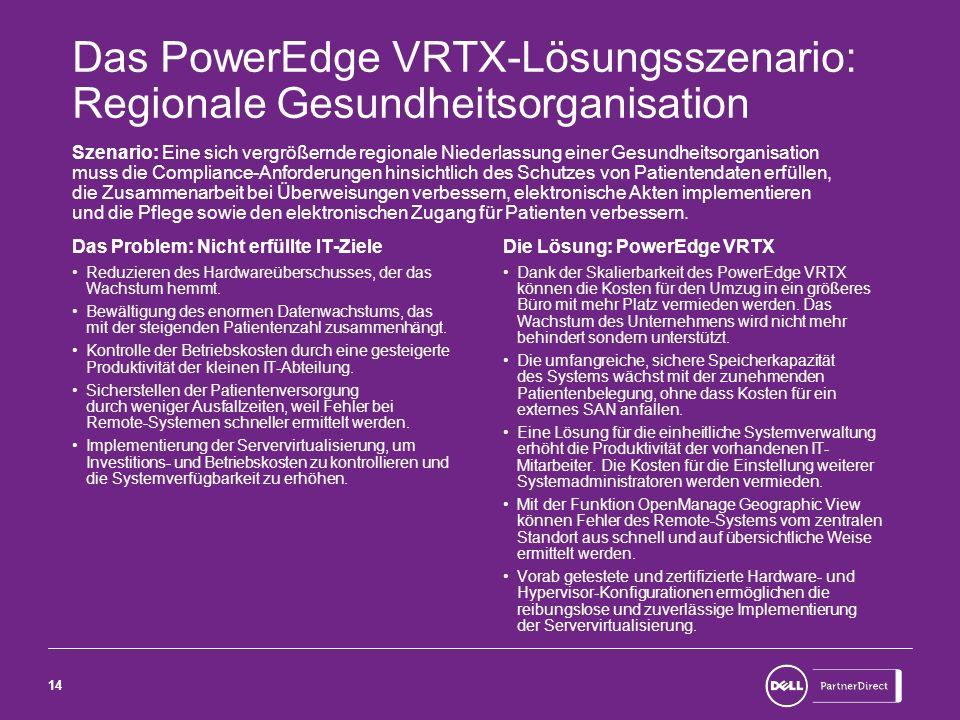 14 Das PowerEdge VRTX-Lösungsszenario: Regionale Gesundheitsorganisation Szenario: Eine sich vergrößernde regionale Niederlassung einer Gesundheitsorg
