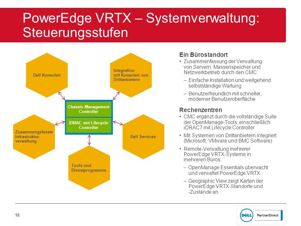 18 PowerEdge VRTX – Systemverwaltung: Steuerungsstufen Ein Bürostandort Zusammenfassung der Verwaltung von Servern, Massenspeicher und Netzwerkbetrieb