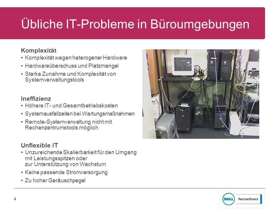 4 Übliche IT-Probleme in Büroumgebungen Komplexität Komplexität wegen heterogener Hardware Hardwareüberschuss und Platzmangel Starke Zunahme und Kompl
