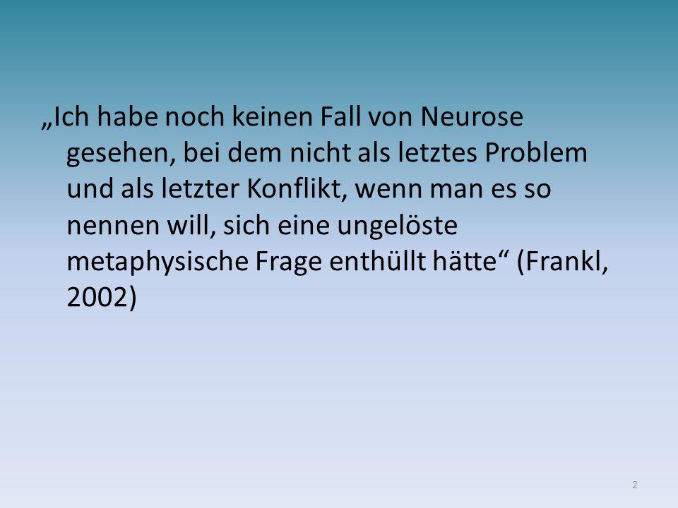 Ich habe noch keinen Fall von Neurose gesehen, bei dem nicht als letztes Problem und als letzter Konflikt, wenn man es so nennen will, sich eine ungel