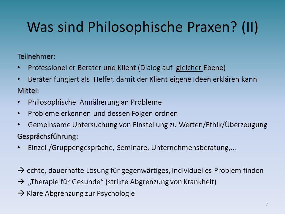 Was sind Philosophische Praxen? (II) Teilnehmer: Professioneller Berater und Klient (Dialog auf gleicher Ebene) Berater fungiert als Helfer, damit der