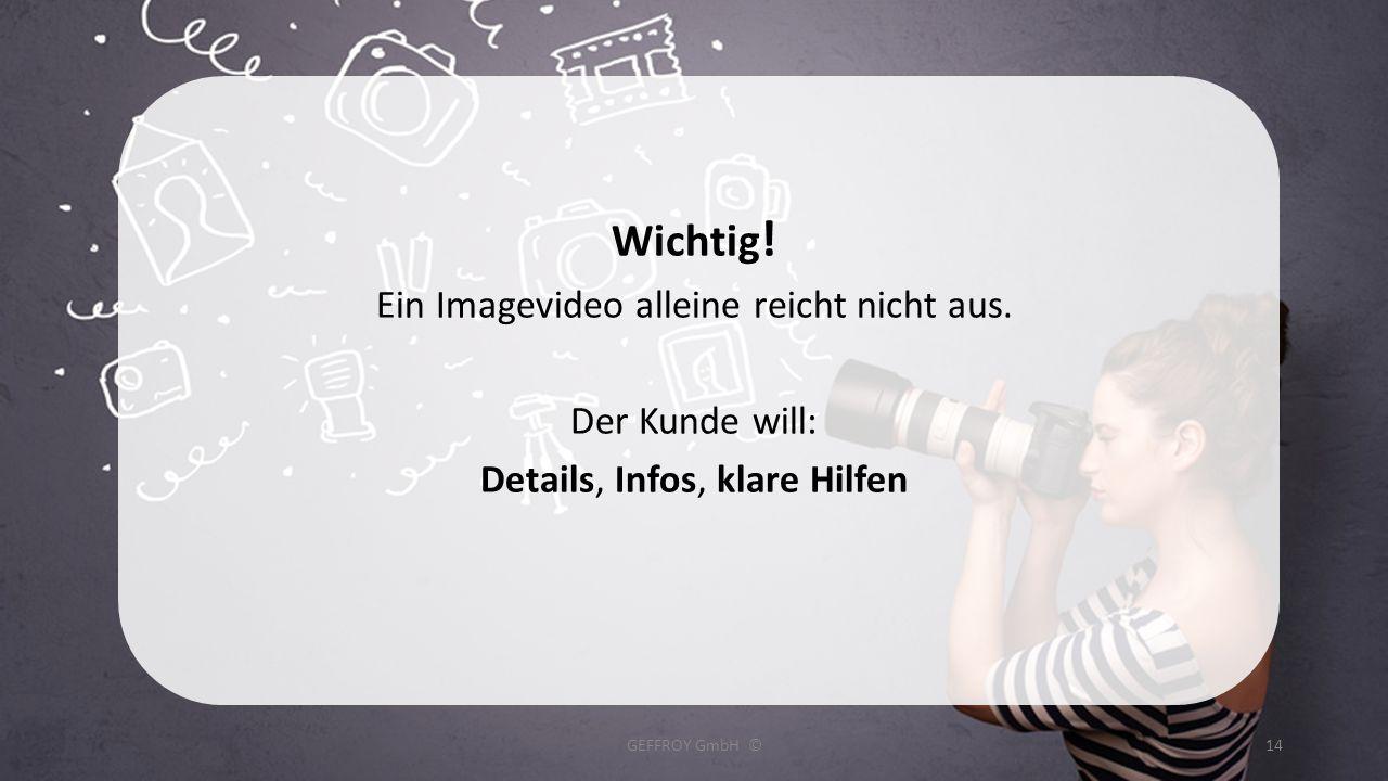 Wichtig ! Ein Imagevideo alleine reicht nicht aus. Der Kunde will: Details, Infos, klare Hilfen GEFFROY GmbH ©14