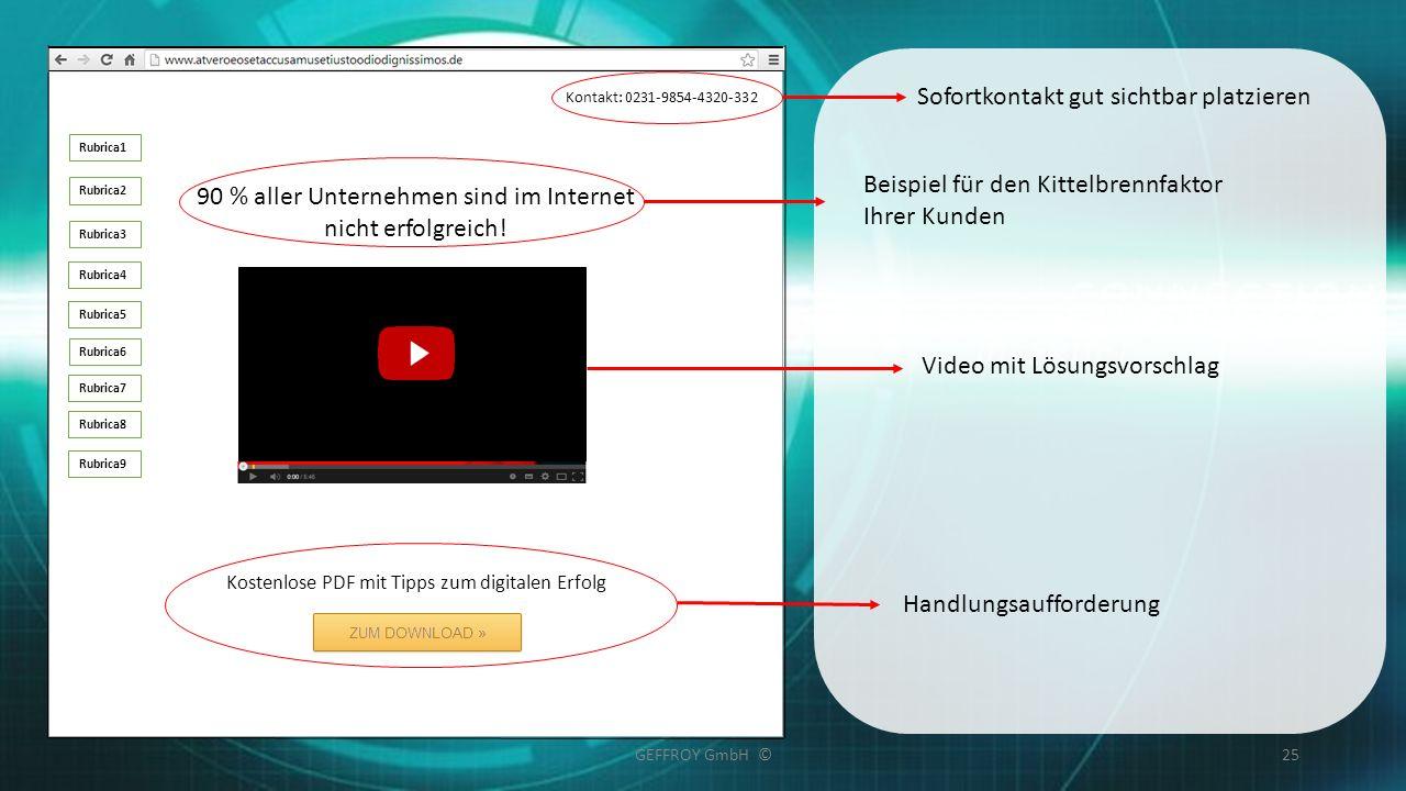GEFFROY GmbH ©25 Rubrica1 Rubrica2 Rubrica3 Rubrica4 Rubrica5 Rubrica6 Rubrica7 Rubrica8 Rubrica9 90 % aller Unternehmen sind im Internet nicht erfolg