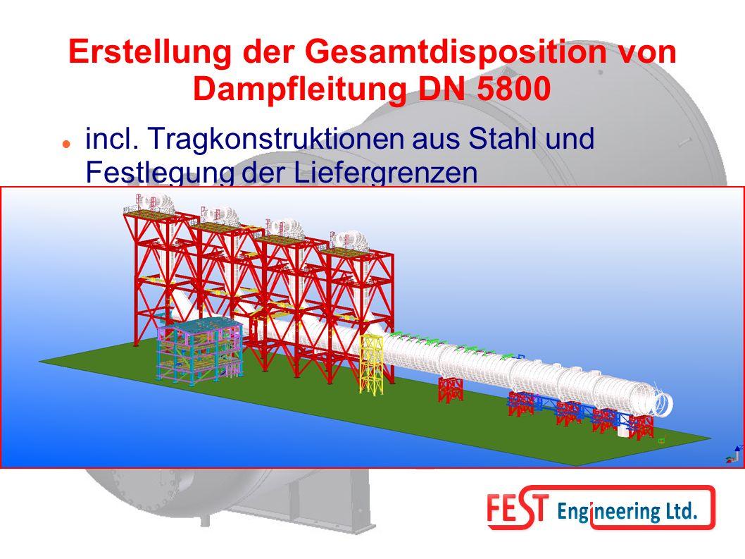 Erstellung der Gesamtdisposition von Dampfleitung DN 5800 incl.