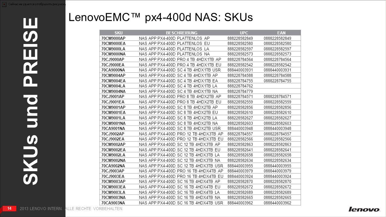 14 SKUs und PREISE 14 2013 LENOVO INTERN. ALLE RECHTE VORBEHALTEN.