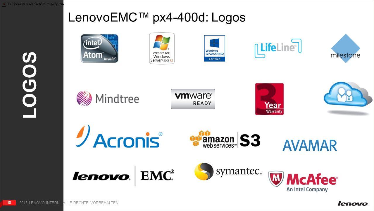 18 LOGOS 18 2013 LENOVO INTERN. ALLE RECHTE VORBEHALTEN. LenovoEMC px4-400d: Logos HOME