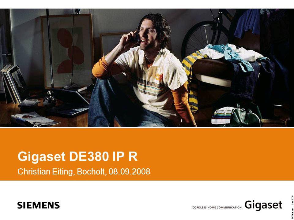 © Siemens, May 2006 © SHC C.Eiting VoIP Telefon mit herausragender Sprachqualität DSL Zugang DSL Modem oder Router Produkt Highlights: CODECs: G.711u/a, G.729A/B, iLBC, G.722 Wideband codec support (G.722) HDSP Freisprechen 128 x 35 dots matrix Display Provider-Konfiguration über WEB-Server 29 Tasten, 7 LEDs Telefonbuch für bis zu 200 Einträge 2 x Ethernet 10 / 100 Mbps (IEEE 802.3), WAN / LAN