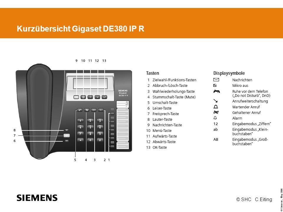 © Siemens, May 2006 © SHC C.Eiting Kurzübersicht Gigaset DE380 IP R