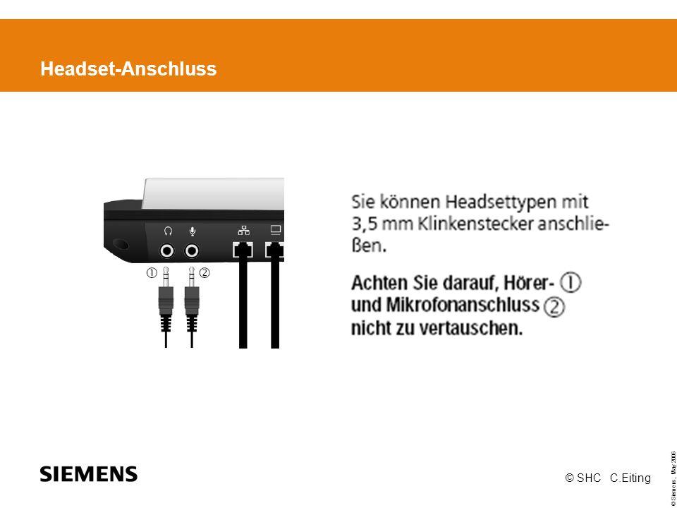 © Siemens, May 2006 © SHC C.Eiting Headset-Anschluss