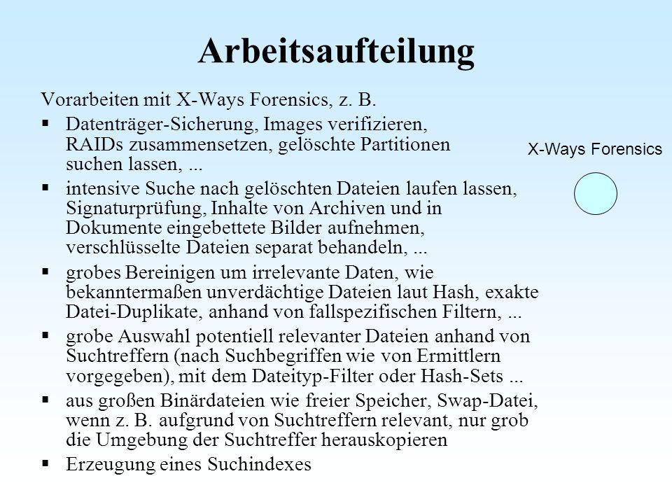Arbeitsaufteilung X-Ways Forensics Vorarbeiten mit X-Ways Forensics, z. B. Datenträger-Sicherung, Images verifizieren, RAIDs zusammensetzen, gelöschte