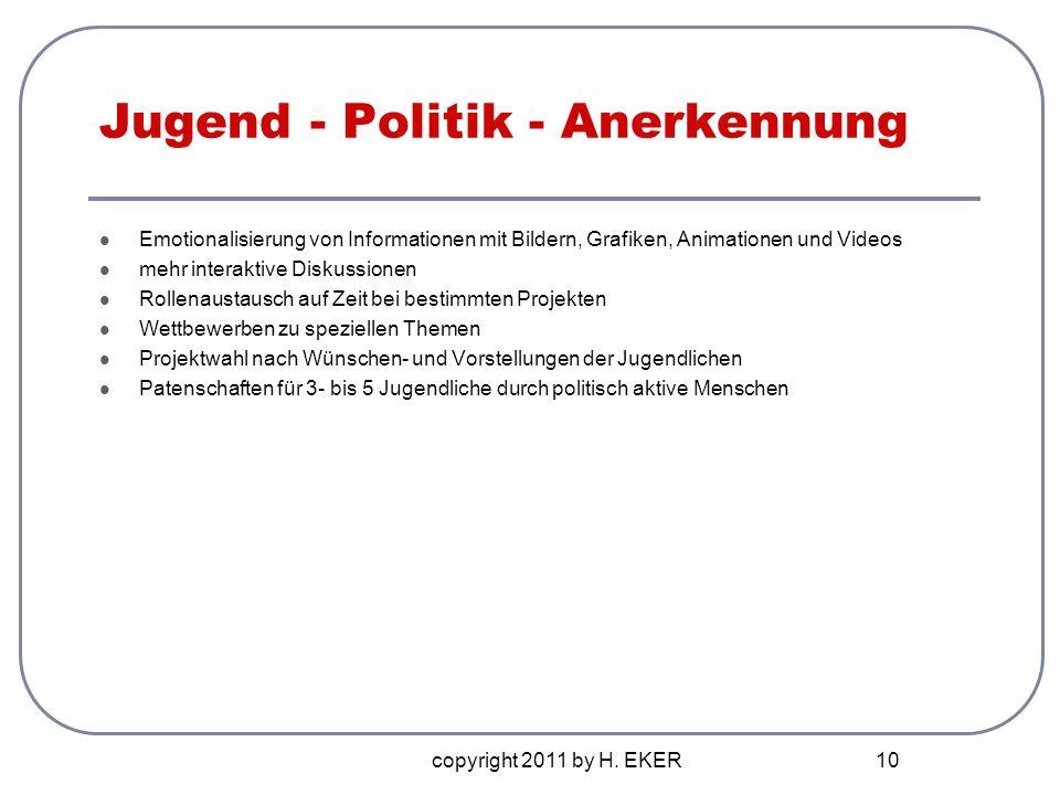 copyright 2011 by H. EKER 10 Jugend - Politik - Anerkennung Emotionalisierung von Informationen mit Bildern, Grafiken, Animationen und Videos mehr int