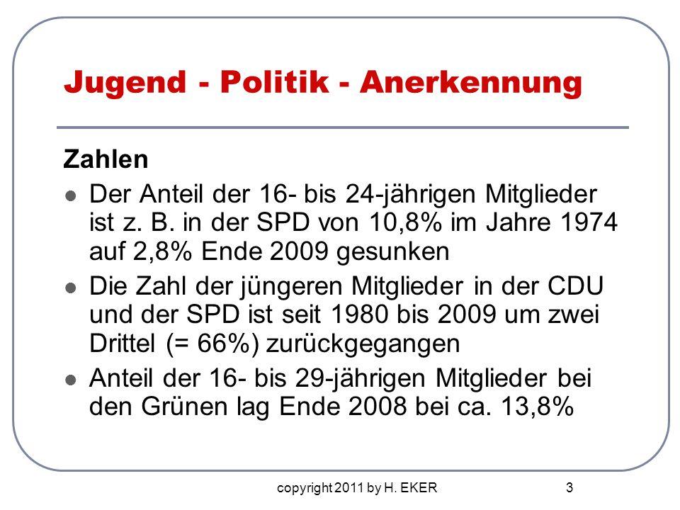 copyright 2011 by H. EKER 3 Jugend - Politik - Anerkennung Zahlen Der Anteil der 16- bis 24-jährigen Mitglieder ist z. B. in der SPD von 10,8% im Jahr