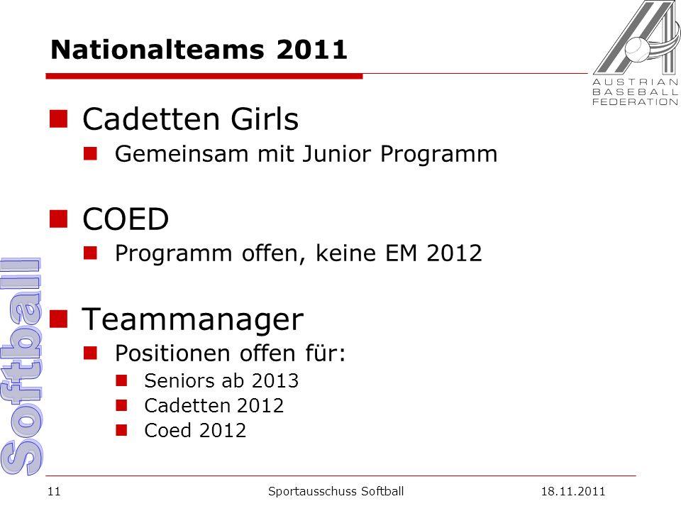 11 Nationalteams 2011 Cadetten Girls Gemeinsam mit Junior Programm COED Programm offen, keine EM 2012 Teammanager Positionen offen für: Seniors ab 2013 Cadetten 2012 Coed 2012 Sportausschuss Softball18.11.2011