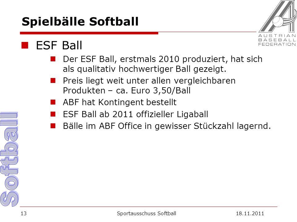 Spielbälle Softball ESF Ball Der ESF Ball, erstmals 2010 produziert, hat sich als qualitativ hochwertiger Ball gezeigt.