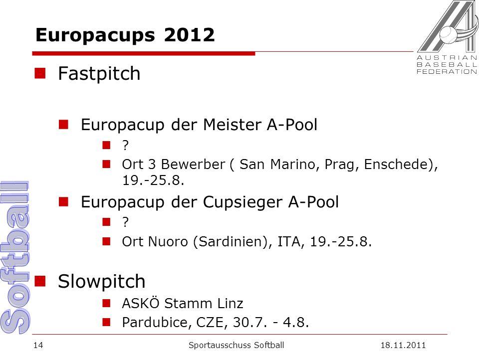 Europacups 2012 Fastpitch Europacup der Meister A-Pool ? Ort 3 Bewerber ( San Marino, Prag, Enschede), 19.-25.8. Europacup der Cupsieger A-Pool ? Ort