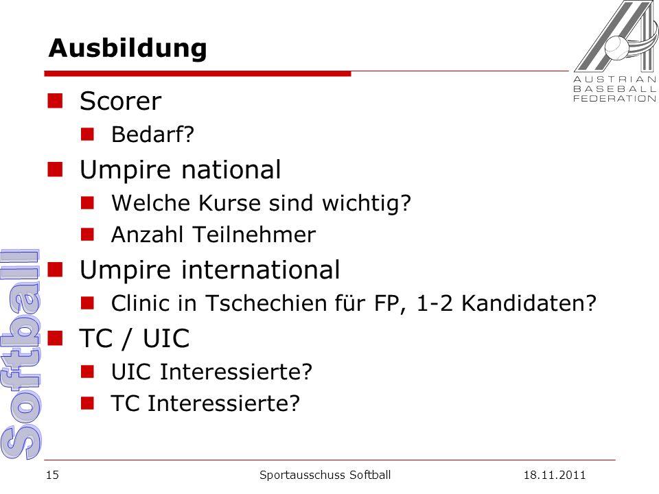Ausbildung Scorer Bedarf. Umpire national Welche Kurse sind wichtig.