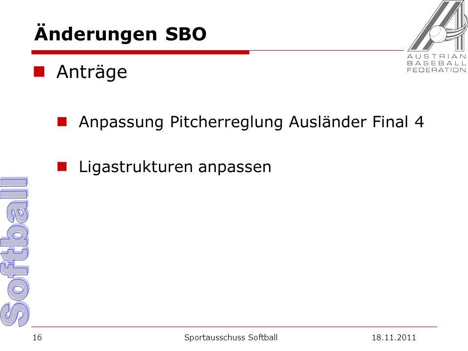 Änderungen SBO Anträge Anpassung Pitcherreglung Ausländer Final 4 Ligastrukturen anpassen Sportausschuss Softball18.11.201116