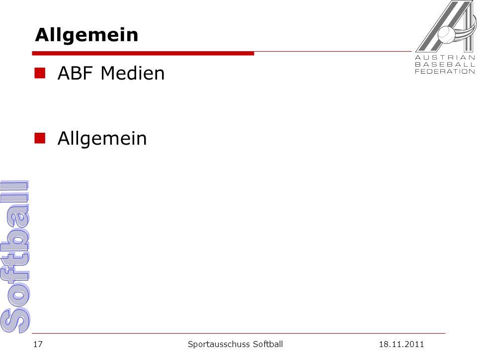 Allgemein ABF Medien Allgemein Sportausschuss Softball18.11.201117