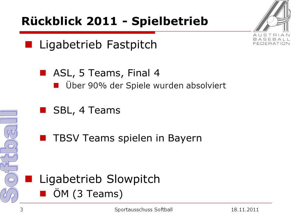3 Rückblick 2011 - Spielbetrieb Ligabetrieb Fastpitch ASL, 5 Teams, Final 4 Über 90% der Spiele wurden absolviert SBL, 4 Teams TBSV Teams spielen in Bayern Ligabetrieb Slowpitch ÖM (3 Teams) Sportausschuss Softball18.11.2011