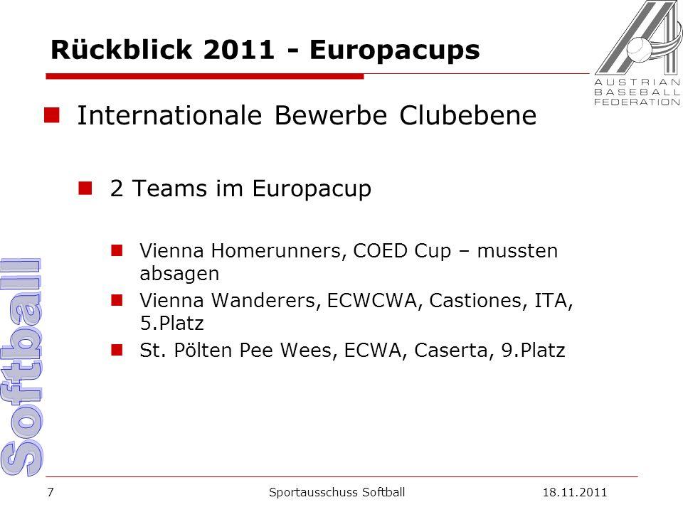 7 Rückblick 2011 - Europacups Internationale Bewerbe Clubebene 2 Teams im Europacup Vienna Homerunners, COED Cup – mussten absagen Vienna Wanderers, ECWCWA, Castiones, ITA, 5.Platz St.
