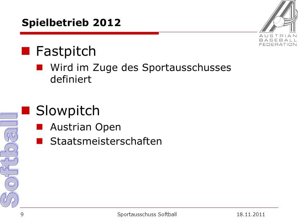 9 Spielbetrieb 2012 Fastpitch Wird im Zuge des Sportausschusses definiert Slowpitch Austrian Open Staatsmeisterschaften Sportausschuss Softball18.11.2011
