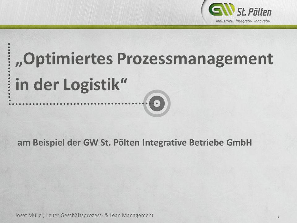 Optimiertes Prozessmanagement in der Logistik 1 Josef Müller, Leiter Geschäftsprozess- & Lean Management am Beispiel der GW St.