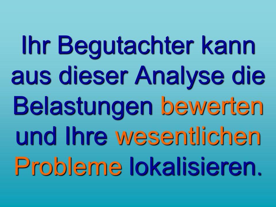 Ihr Begutachter kann aus dieser Analyse die Belastungen bewerten und Ihre wesentlichen Probleme lokalisieren.