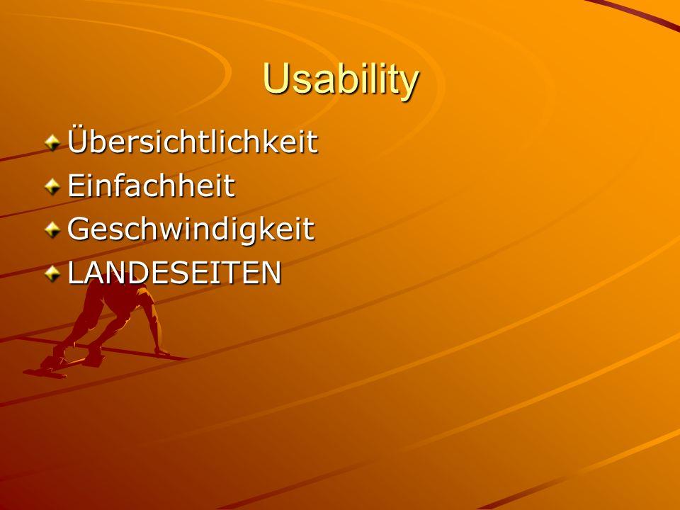 Usability ÜbersichtlichkeitEinfachheitGeschwindigkeitLANDESEITEN