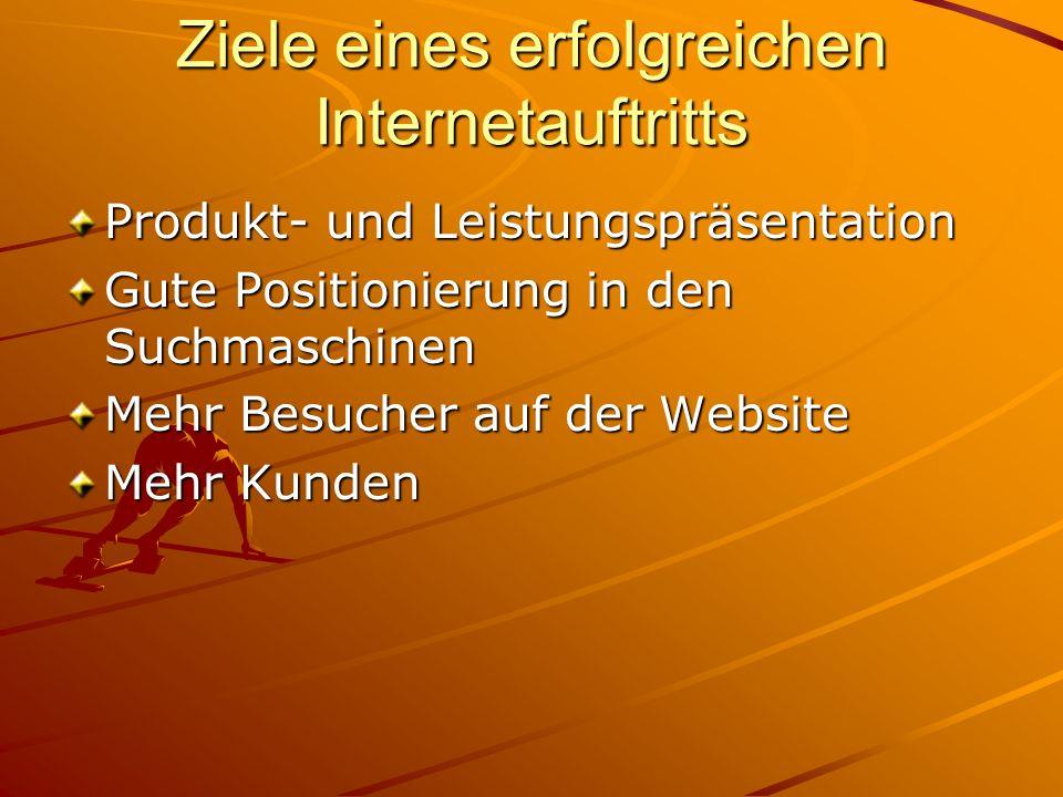 Ziele eines erfolgreichen Internetauftritts Produkt- und Leistungspräsentation Gute Positionierung in den Suchmaschinen Mehr Besucher auf der Website Mehr Kunden