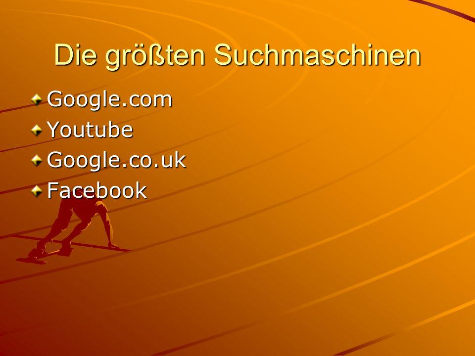 Die größten Suchmaschinen Google.comYoutubeGoogle.co.ukFacebook