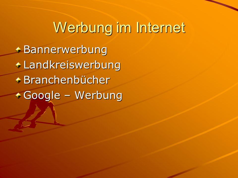 Werbung im Internet BannerwerbungLandkreiswerbungBranchenbücher Google – Werbung