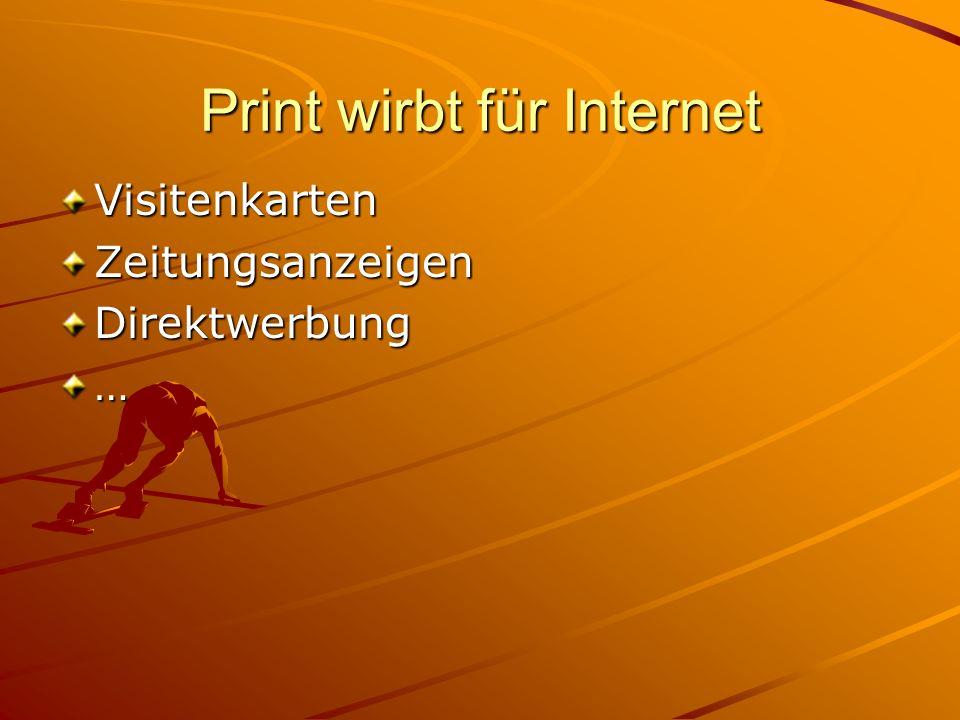 Print wirbt für Internet VisitenkartenZeitungsanzeigenDirektwerbung…