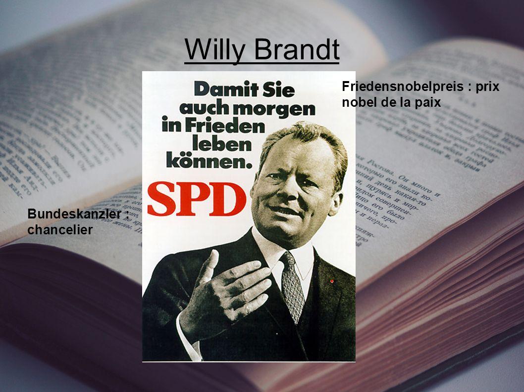 Willy Brandt Bundeskanzler : chancelier Friedensnobelpreis : prix nobel de la paix