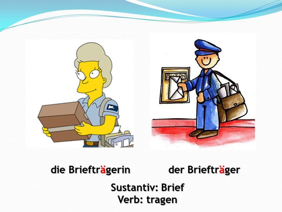 die Briefträgerin der Briefträger Sustantiv: Brief Verb: tragen
