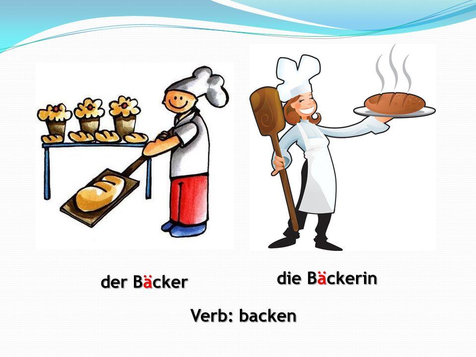 der Bäcker die Bäckerin Verb: backen