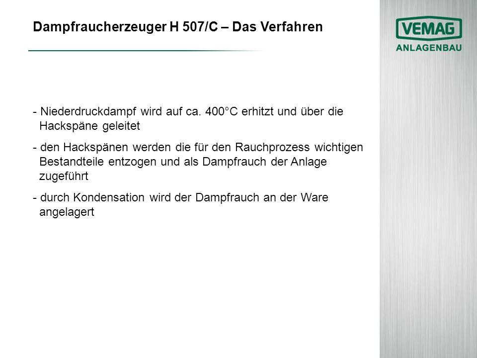 Dampfraucherzeuger H 507/C – Das Verfahren - Niederdruckdampf wird auf ca. 400°C erhitzt und über die Hackspäne geleitet - den Hackspänen werden die f