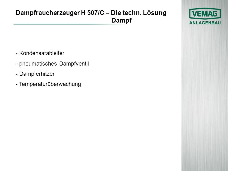 Dampfraucherzeuger H 507/C – Die techn. Lösung Dampf - Kondensatableiter - pneumatisches Dampfventil - Dampferhitzer - Temperaturüberwachung