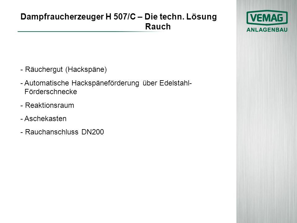 Dampfraucherzeuger H 507/C – Die techn. Lösung Rauch - Räuchergut (Hackspäne) - Automatische Hackspäneförderung über Edelstahl- Förderschnecke - Reakt