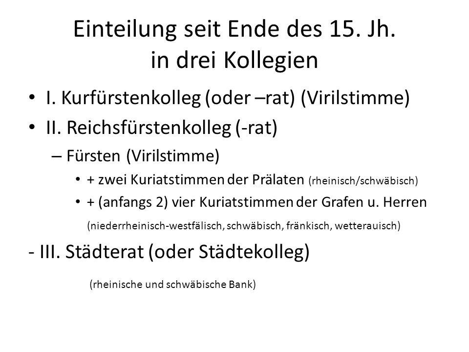 Einteilung seit Ende des 15.Jh. in drei Kollegien I.