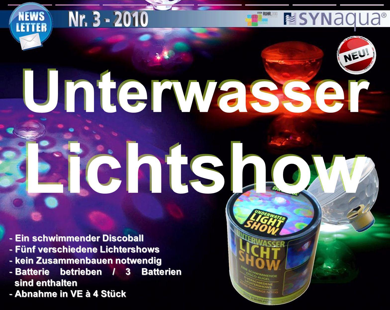 Unterwasser Lichtshow - Ein schwimmender Discoball - Fünf verschiedene Lichtershows - kein Zusammenbauen notwendig - Batterie betrieben / 3 Batterien sind enthalten - Abnahme in VE à 4 Stück
